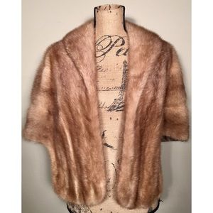 Vintage Custom 50's Mink Cape Real Fur Brown S- M